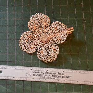vintage gold filigree floral hair clip flower